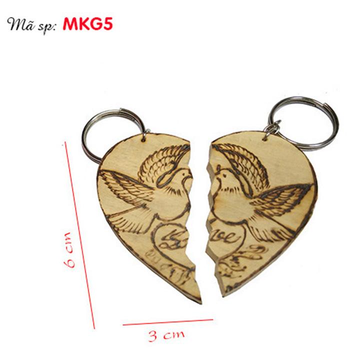 móc khóa gỗ cặp đôi