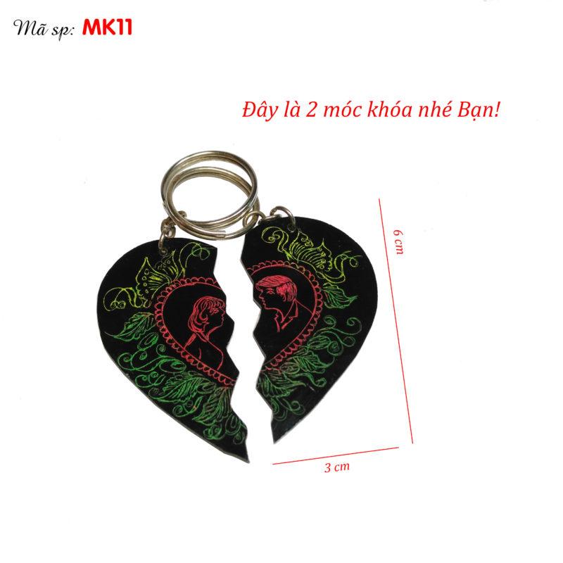 móc khóa tình nhân - móc khóa 2 nửa trái tim ghép lại